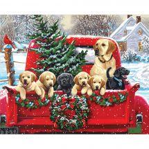 Kit de peinture par numéro - Dimensions - Camion de Noël avec les chiots