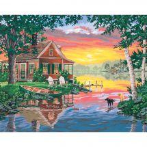 Kit de peinture par numéro - Dimensions - Cabane au coucher du soleil