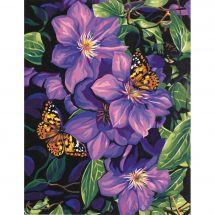Kit de peinture par numéro - Dimensions - Clématite et papillons
