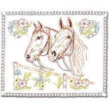 Kit de napperon à broder  - Luc Créations - Les chevaux