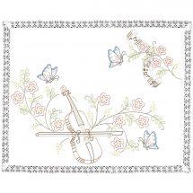 Kit de napperon à broder  - Luc Créations - Violon et papillons