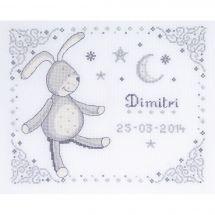 Kit point de croix - DMC - Tableau prénom - gris