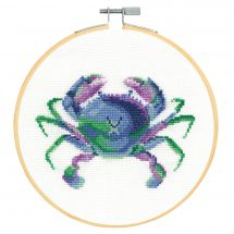 Kit point de croix avec tambour - DMC - Crabe coloré