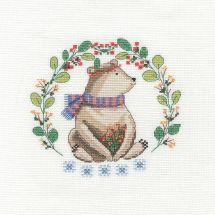 Kit point de croix avec tambour - DMC - Un ours si mignon