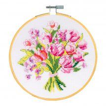 Kit point de croix avec tambour - DMC - Bouquet de printemps