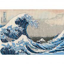 Kit point de croix - DMC - La grande vague d'après K. Hokusai