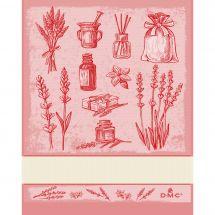 Torchon à broder - DMC - Herbes Aromatiques - Rouge