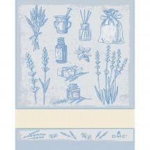 Torchon à broder - DMC - Herbes Aromatiques - Bleu