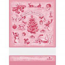 Torchon à broder - DMC - Paysage de Noël - Rouge