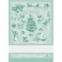 Torchon à broder - DMC - Paysage de Noël - Vert