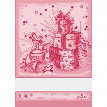 Torchon à broder - DMC - Cadeaux de Noël - Rouge