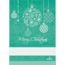 Torchon à broder - DMC - Boules de Noël - Vert