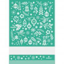 Torchon à broder - DMC - Fantaisie de Noël - Vert