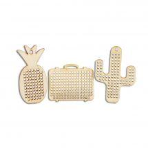Support bijoux - DMC - 3 pendentifs en bois à broder