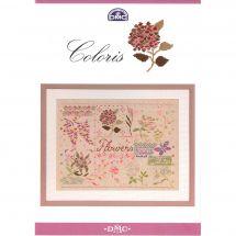 Livre diagramme - DMC - Tableaux Flowers à broder en fil coloris