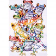 Kit point de croix - Design works - Pile de grenouilles