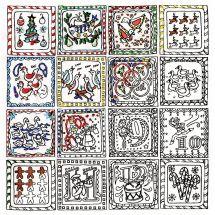 Toile pré-dessinée - Zenbroidery - Les 12 jours de Noël