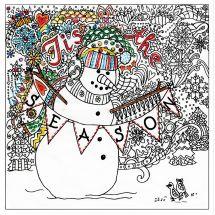 Toile pré-dessinée - Zenbroidery - Bonhomme de neige