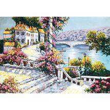 Canevas Pénélope  - Gobelin. L - Escalier fleuri