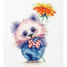 Kit point de croix - Toison d'or - Panda avec fleur