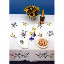Kit de nappe à broder - Luc Créations - Petites fleurs et mimosa