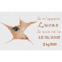 Kit point de croix - Luc Créations - Plaquette de naissance - Lucas