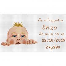 Kit point de croix - Luc Créations - Plaquette de naissance  Enzo