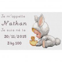 Kit point de croix - Luc Créations - Plaquette de naissance - Nathan