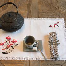 Kit de napperon à broder  - Luc Créations - Fleur et hirondelles