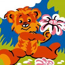 Kit de canevas pour enfant - Luc Créations - Ourson et fleur
