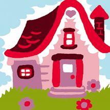 Kit de canevas pour enfant - Luc Créations - La maison rose