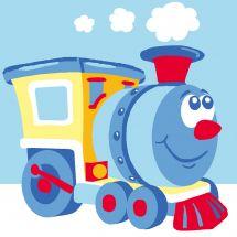 Kit de canevas pour enfant - Luc Créations - Train bleu