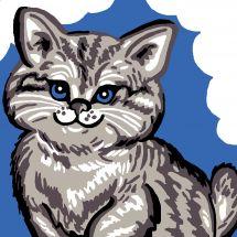 Kit de canevas pour enfant - Luc Créations - Chat gris