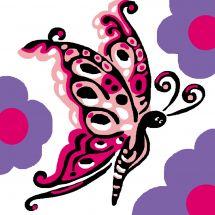 Kit de canevas pour enfant - Luc Créations - Papillon rose