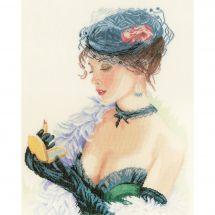 Kit point de croix - Lanarte - Femme au rouge à lèvres