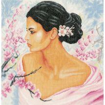Kit point de croix - Lanarte - Femme et fleurs de cerisier