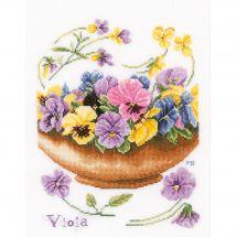 Kit point de croix - Lanarte - Violettes
