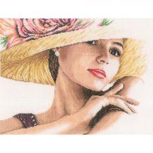 Kit point de croix - Lanarte - Femme au chapeau