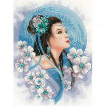 Kit point de croix - Lanarte - Femme asiatique en bleu