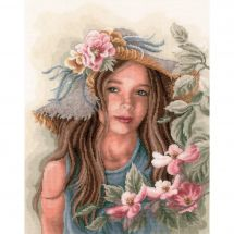 Kit point de croix - Lanarte - Petite fille au chapeau