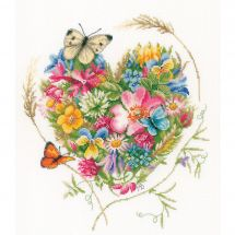 Kit point de croix - Lanarte - Un coeur de fleurs