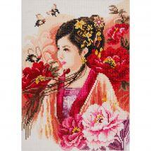 Kit de broderie Diamant - Lanarte - Femme asiatique en rose