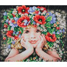 Kit de broderie Diamant - Lanarte - Fille aux fleurs