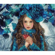 Kit point de croix - Lanarte - Blue Flowers Girl