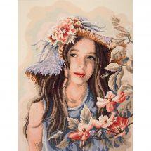 Kit de broderie Diamant - Lanarte - Petite fille au chapeau