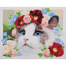 Kit de peinture par numéro - Lanarte - Ragdoll - Couronne de fleurs