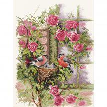 Kit point de croix - Lanarte - Nid d'oiseaux dans les rosiers