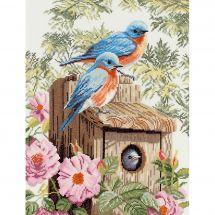 Kit point de croix - Lanarte - Le jardin des oiseaux bleus