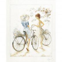 Kit point de croix - Lanarte - Jeunes filles à vélo