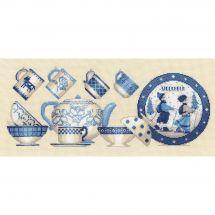 Kit point de croix - Le Bonheur des Dames - Vaisselle bleue